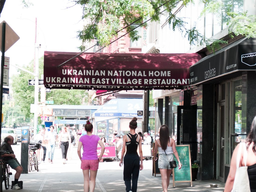 New York Walking Food Tour Ukrainian Village Restaurant Sign