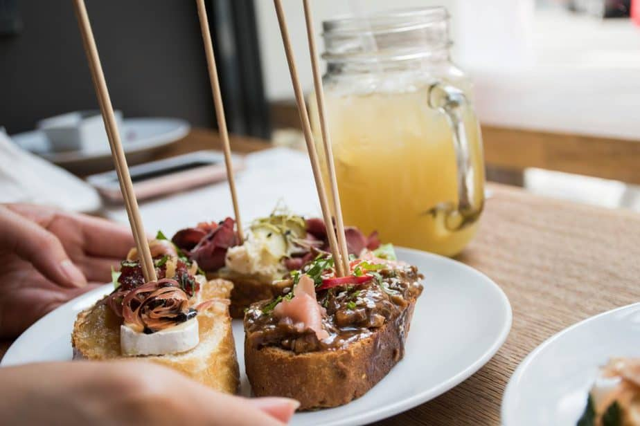 Various open faced sandwiches and homemade ginger lemonade at Spejle in Prague